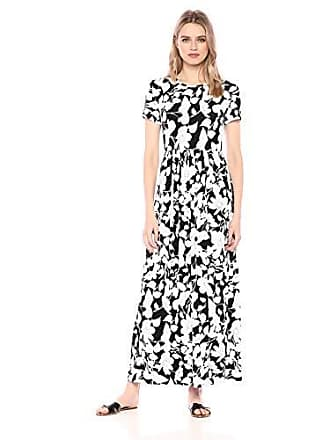 25abdeea1fd5 Amazon Essentials Short-Sleeve Waisted Maxi Dress, Black Romantic Floral,  US XL (