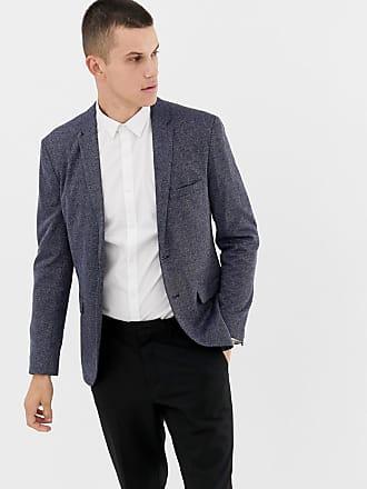 Jack & Jones Premium Smart Blazer In Melange Fabric - Navy