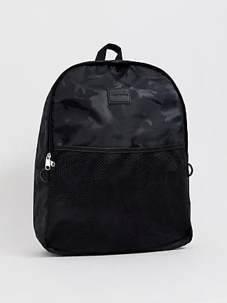 8a1144333a61b Asos Rucksack mit Netz-Tasche und schwarzem Military-Muster - Schwarz