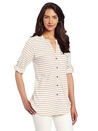 Calvin Klein Womens Stripe Crew Neck Roll Sleeve, Latte/Ivory, Large