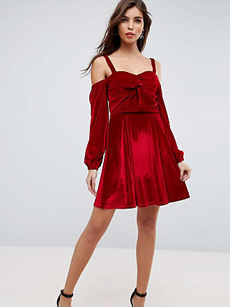 5cb64ff392dea Asos ASOS Velvet Off Shoulder Skater Dress with Long Sleeves - Red