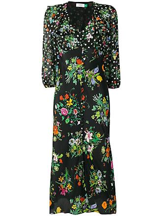 Rixo Vestido evasê com estampa floral - Preto