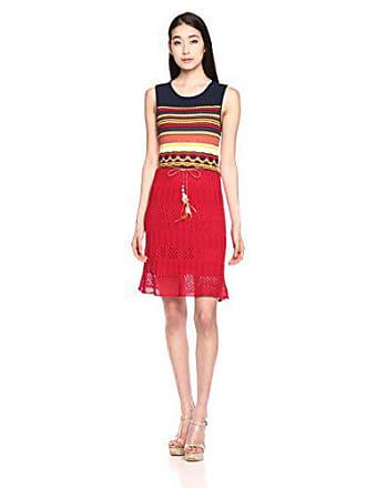 Desigual Womens Sarona Flat Knitted Sleeveless Dress, Burgundy, L
