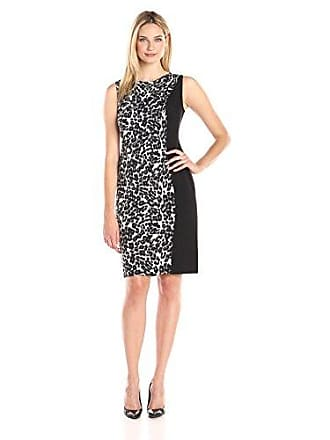 Kasper Womens Sleeveless Cowl Neck Printed Dress, Black/Silver, 6