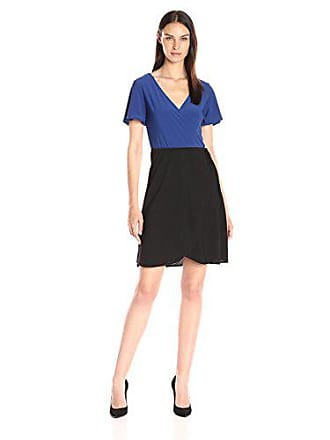 Star Vixen Womens Short Sleeve 2-Tone Faux Wrap Ballerina Dress with Tulip Skirt, Royal/Old Black, Medium