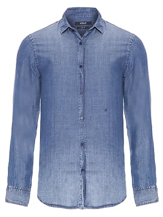 Replay CAMISA MASCULINA JEANS BASIC - AZUL