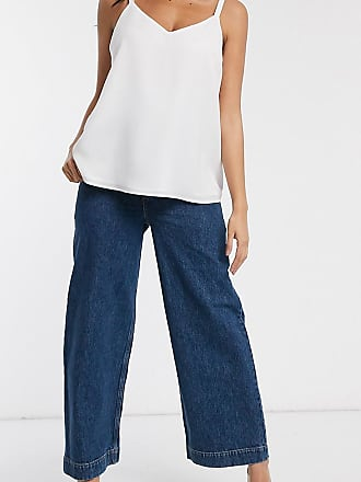 Asos Maternity ASOS DESIGN Maternity High rise easy wide leg jeans in mid wash blue