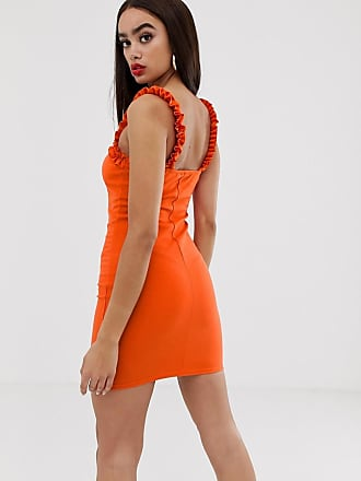 d480f1451b2b0f Prettylittlething bodycon mini dress with frill edge in orange - Red