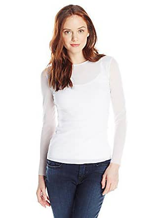 Only Hearts Womens Tulle 2 Ply Long Sleeve Crew Neck, White, Petite/Small