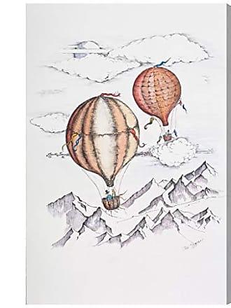 The Oliver Gal Artist Co. The Oliver Gal Artist Co. Transportation Wall Art Canvas Prints Paul Kaminer - Balloon Journey Home Décor, 24 x 36, White, Orange