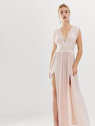 Asos Premium - Vestito lungo a pieghe con inserti in pizzo - Rosa ec71bd40cbb