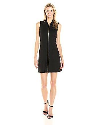 Sharagano Womens Sleeveless Zippered Ponte Dress, Black 14
