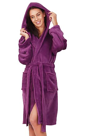 Decoking Bathrobe XXXL Short Women Men Unisex Hooded Dressing Gown  Microfibre Soft Snug Cosy Fleece Violet c01edbbb4