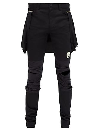 Undercover Slashed Knee Cotton Blend Trousers - Mens - Black