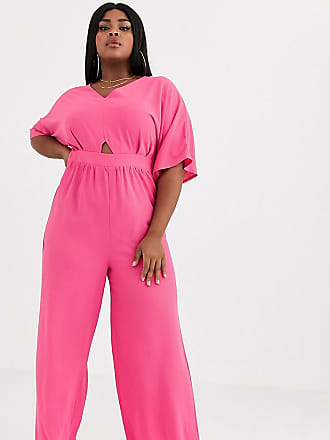 Missguided wide leg jumpsuit with flared sleeve in pink-Multi
