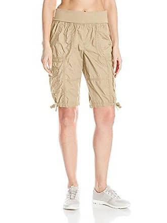Calvin Klein Performance Womens Jersey Rollover Waistband Cargo Bermuda Short 12 Inseam, Latte, L