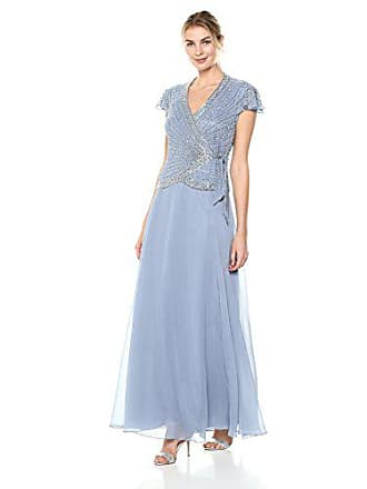 J Kara Womens Short Sleeve V Neck Faux Wrap Long Dress, Dusty Blue, 18