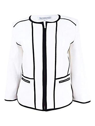 Kasper Womens Stretch Pique Zipper Front Jacket, Vanilla Ice/Black, 14