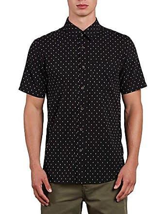 Volcom Mens Dobler Short Sleeve Button Up Solid Shirt, Black, S