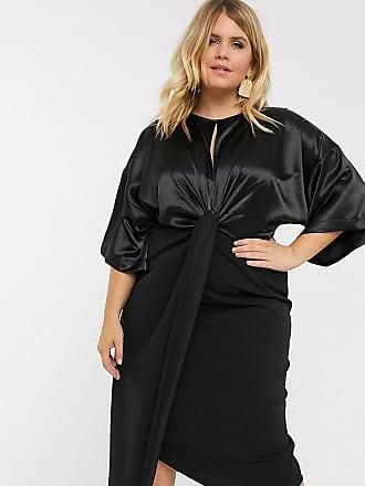Asos Curve ASOS DESIGN Curve satin mix twist front midi dress-Black