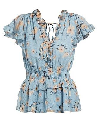 Rebecca Taylor Floral Print Ruffled Silk Blend Blouse - Womens - Light Blue