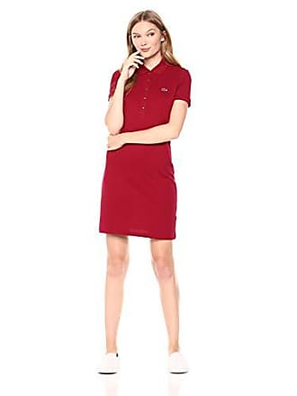 Lacoste Womens Stretch Cotton Short Sleeve Mini Piqué Polo Dress, Bordeaux, 2