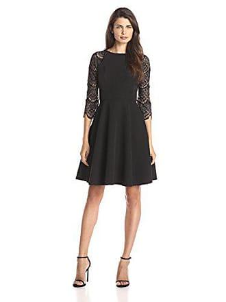 9e246590d0 London Times Womens 3/4 Sleeve Lace Full Skirt Dress, Black, 2