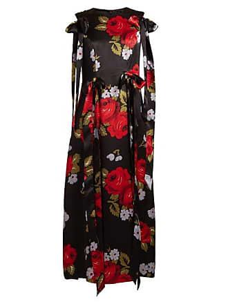 942bf1ebde35 Simone Rocha Bow Trim Floral Print Silk Satin Dress - Womens - Black Multi