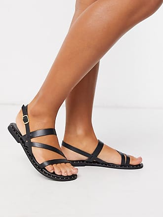 Warehouse mutlistrap studded leather sandals in black