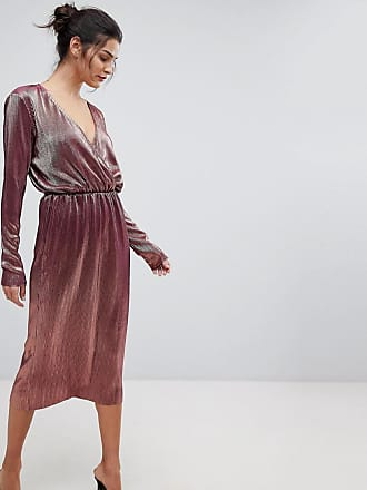 Y.A.S Metallic Wrap Midi Dress - Pink