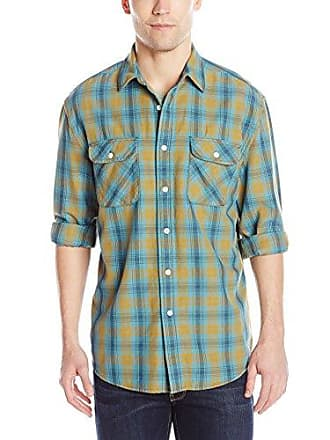 Pendleton Mens Long Sleeve Beach Shack Twill Shirt, Teal/Gold Plaid, Large