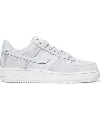 Nike Air Force 1 07 Metallic Suede And Leather Sneakers - White