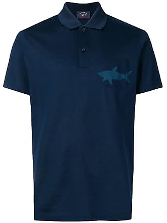 Paul & Shark Camisa polo com estampa de tubarão - Azul