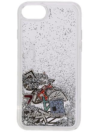 Karl Lagerfeld Capa do iPhone 8 com glitter - Branco