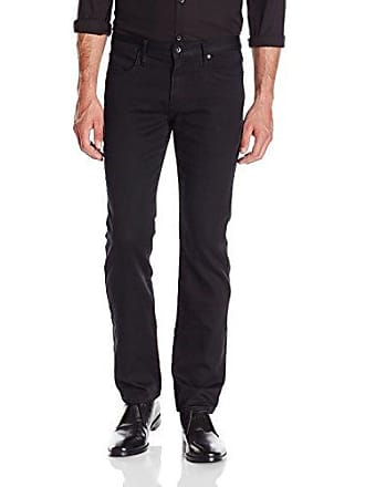 John Varvatos Mens Bowery Fit Jean, V Stitch Pocket Zip Fly, Low Rise, Slim Straight Leg in Black, 33