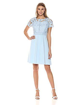 Ivanka Trump Womens Scuba Crepe Fit and Flare Chemical Lace Cap SleeveDress, Breeze, 16