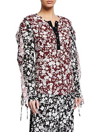 Yigal AzrouËl Celosia Snap Floral Blouse w/ Self-Tie Cuffs