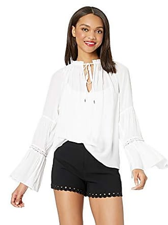 Ramy Brook Womens Lance Long Sleeve Chain Detail TOP, Ivory Extra Small
