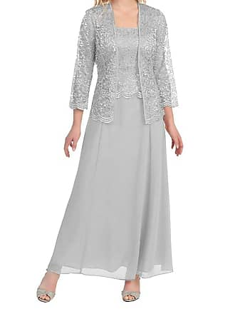 ef52b98e40 APXPF Womens Long Mother of The Bride Evening Formal Lace Dress with Jacket  - Grey