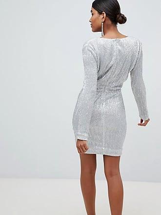 83ea72c5340 Lavish Alice sequin embellished mini dress in silver iridescent - Silver