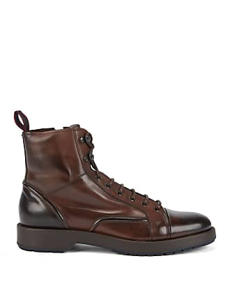 BOSS Lace-up boots in burnished leather with lambskin lining