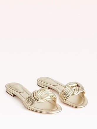 Alexandre Birman Vicky Flat Slide - 35.5 Golden Metallic Leather
