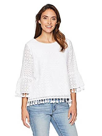 1cad63cd5ad Ruby Rd. Womens Novelty Patchwork Lace Top with Tassel Trim, White, Medium