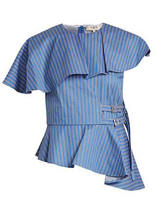 Sea New York Striped Strap Side Cotton Twill Top - Womens - Blue Multi