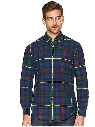 ac8288740 Polo Ralph Lauren Classic Fit Oxford Tartan (Navy Pine Multi) Mens Clothing
