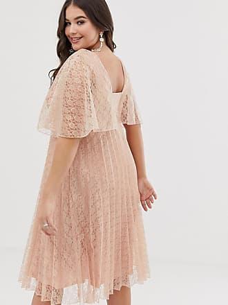 e002dbe79ec Asos Curve ASOS DESIGN Curve flutter sleeve pleat and lace midi dress - Pink