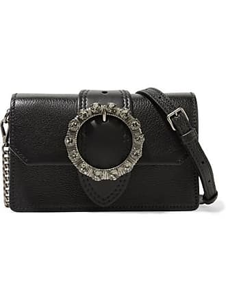 Miu Miu Miu Lady Embellished Smooth And Textured-leather Shoulder Bag -  Black 975612d49d9ae