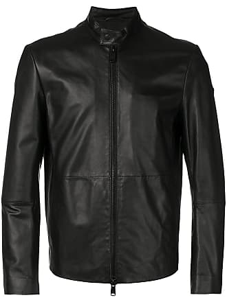 Emporio Armani zipped leather jacket - Black