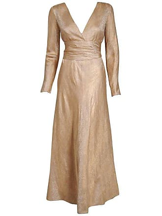 4c93a4d6ca Givenchy 1977 Givenchy Haute-couture Metallic Gold Silk Brocade Long-sleeve  Plunge Dress