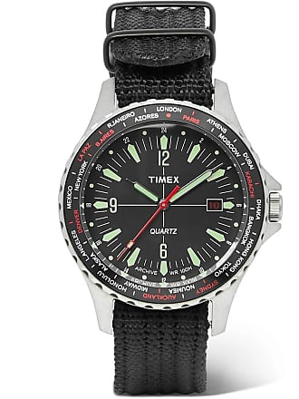 Timex Navi World Time Stainless Steel And Nylon-webbing Watch - Black